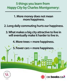 5 things you learn about happiness & urban design from Happy City via CBC. #ProjectHappiness #CultureDays