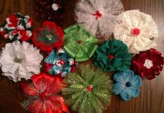 Christmas Bows, a few examples of bows made by Kathy for Bow Dazzling, to be delivered to local hospitals for girls receiving treatment for cancer and other life threatening illnesses.  https://www.facebook.com/BowDazzling