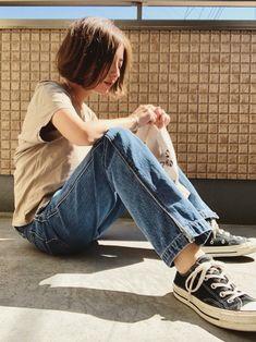 mayumi|DouDouのデニムパンツを使ったコーディネート - WEAR Tomboy Fashion, Teen Fashion, Womens Fashion, Chic Outfits, Fashion Outfits, College Fashion, Mens Clothing Styles, Girl Short Hair, Fashion Photo