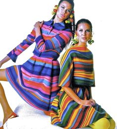 Arnold Scaasi - Robe à Rayures - Couleurs Pop - 1967