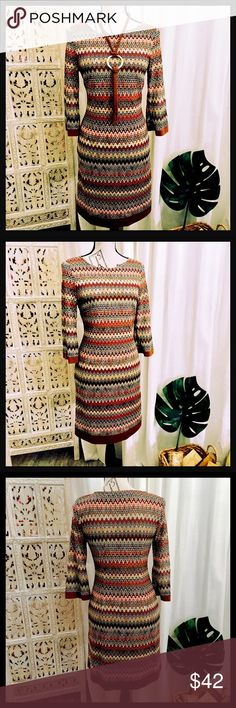 ✨Sale✨3/4 Sleeve Multi Color Dress in Fall Colors NWOT 3/4 Sleeve Multi Color Dress in Beautiful Fall Colors🍁 Studio One Dresses Midi