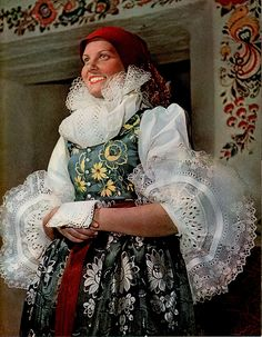 Costume at Strážnice, c. Source: Czechoslovakia by Rachlik. European Tribes, European Costumes, Art Populaire, Ethnic Dress, Folk Costume, Ethnic Fashion, Beautiful Patterns, Traditional Dresses, Costumes Around The World