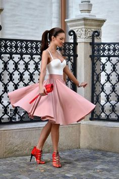 Pink and red fancy outfit.