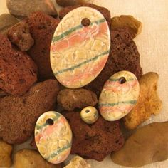 Set of Three Striped, Textured, Oval Pendant Beads Earthenware, Stoneware, Oval Pendant, Handmade Beads, Terracotta, Ceramics, Texture, Etsy, Ceramica
