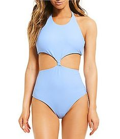 b265368e00 GB Into The Blues High Neck Cut-Out One-Piece Swimsuit sat Swimwear Cover