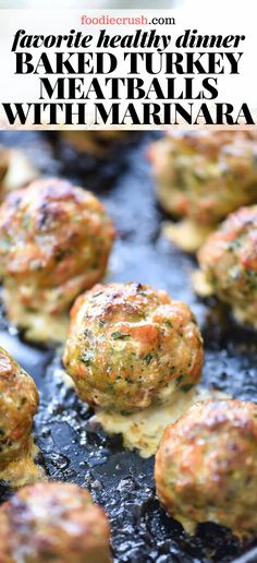 These baked turkey meatballs are made with ground turkey, spinach, and fresh herbs, then baked up and served with creamy polenta and zesty marinara! Turkey Spinach Meatballs, Italian Turkey Meatballs, Ground Turkey Meatballs, Healthy Ground Turkey, Ground Turkey Recipes, Baked Meatball Recipe, Italian Polenta, Cooking Recipes, Healthy Recipes