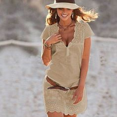 Pure Color V-neck Embroidery Short Sleeves Dress
