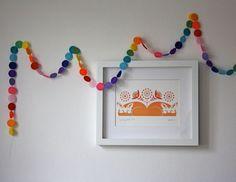 Felt Garland - Rainbow Garland - Circles of Felt - 5 Feet. $19.95, via Etsy.