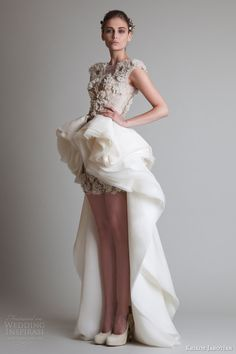 krikor jabotian fall 2013 couture cap sleeve dress overskirt