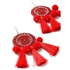 Miss Selfridge Red Mega Pom Tassel Earring ($27) ❤ liked on Polyvore featuring jewelry, earrings, red, red tassel earrings, miss selfridge, red jewellery, red pom pom earrings and red jewelry