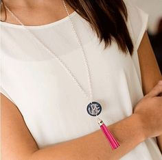 Silver with Hot Pink Tassel Monogram Necklace