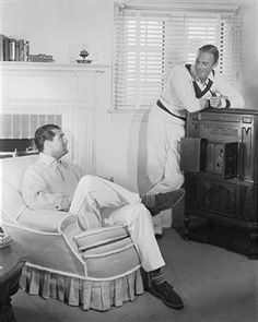 "Cary Grant and Randolph Scott in their home ""Bachelor Hall""."