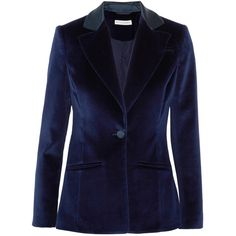 Altuzarra Acacia cotton-blend velvet blazer (65.170 RUB) ❤ liked on Polyvore featuring outerwear, jackets, blazers, velvet, blue, midnight blue, padded shoulder blazer, blue velvet jacket, navy blue velvet blazer and one-button blazers
