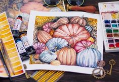 It's not fall without pumpkins! Try painting your own watercolor pumpkin patch like this one by Elena Mozhvilo. Mix and match different colors on your pumpkins to create your own fall watercolor painting. Heritage pumpkin varieties often come in a selection of interesting shades, so look up pictures of them before you begin. Pumpkin Images, Pumpkin Pictures, Finding Passion, Everson Museum, Pink Pumpkins, Perfect Pink, Drawing People, Diy Halloween, Free Images