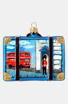 Sparkled Blue and Gold England Suitcase Ornament - Ornament Reviews