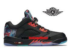 size 40 71866 d1294 Air Jordan 5 Retro Low - Chaussures Baskets Offciel Pas Cher Pour Homme Noir  Rouge