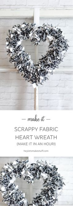I can't believe how quickly this scrappy heart wreath came together! Less than an hour to make, including the time it took me to cut the fabric. See how I did it!