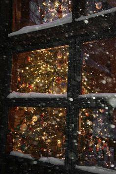 christmas: joy from the snowy window