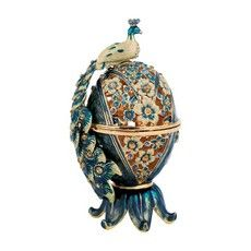 containers - Jeweled Spice Box with Flowers and Peacock in Turquoise, Amber, and Yellow