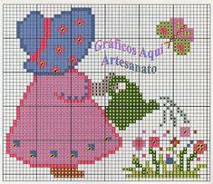 Gráficos Aqui - Artesanato: panos de copa semaninha em ponto cruz meninas camposas com gráficos