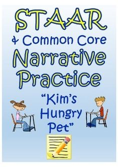 This narrative practice passage and comprehension questions help students practice and prepare for the STAAR and other common core assessments. It includes about text structure, author's purpse/style, drawing conclusions using text evidence, characterization, plot sequence.  It includes:  -Kim's Hungry Pet- Complete Passage -6 STAAR aligned comprehension questions regarding the concepts listed above. -Answer Key