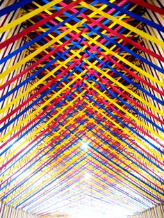 Rebecca Ward, Seventeen is Sharp, 2009, electric tape on wall/staircas