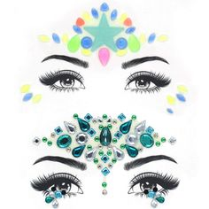 Nicute Rhinestones Mermaid Face Jewels Tattoo Luminous Festival Face Gems Temporary Stickers Party Crystals Body Jewelry 2 Sets for Women and Girls ** Check out the image by visiting the link. (As an Amazon Associate I earn from qualifying purchases)