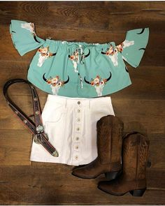 Shop For The Cutest outfits in store or online Cute Cowgirl Outfits, Rodeo Outfits, Western Outfits, Western Wear, New Outfits, Summer Outfits, Cute Outfits, Fashion Outfits, Cowgirl Style