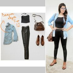 #StyleTip #DenimPartThree #blackonback #croptop #fauxleather #jeggings #denimshirt #brownshoes #brownbag #collegelook #clearglasses #braidedhair #stylingtips #styling #collegestyle #nerdstyle #fun #thedenimedit #lastlook  Try this look and don't forget to show us how it looked on you!  Go girls! Dm us your picture now!