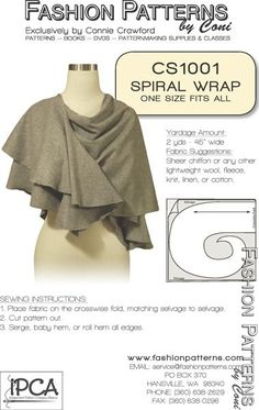 Simple Sleeved Shawl INDYGO JUNCTION  IJ 838 TRENDY SEWING PATTERN NEW!