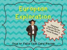 European Exploration True or False History! Georgia Standards 4th Grade Social Studies Task Cards