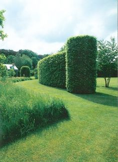 Jacques Wirtz - curved hedges ending in cylinders to frame exit of driveway or at the transition from the drive to the pathway to the house or from the driveway into the garden Modern Landscape Design, Traditional Landscape, Modern Landscaping, Contemporary Landscape, Backyard Landscaping, Landscaping Ideas, Garden Hedges, Topiary Garden, Garden Paths