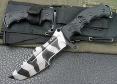 H.e.c.k Military Tracker Camo Hunting Knife G10 handle