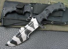H.e.c.k Military Tracker Camo Hunting Knife G10 handle