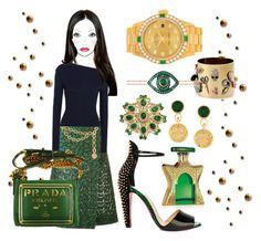 """Navy Green & Gold"" by ellenfischerbeauty on Polyvore featuring Bond No. 9, Chanel, Sacai, Jacquemus, Christian Louboutin, Alexis Bittar, Netali Nissim, Prada and Rolex"