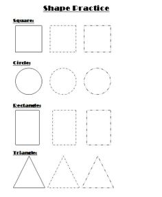 Shape Practice Worksheet for Kindergarten
