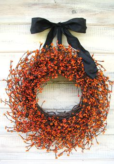 HAUNTED HALLOWEEN-Orange & Black Wreath-Halloween Decor-Fall Wreath-Scented Pumpkin Spice-Choose your Scent and Ribbon. $55.00, via Etsy.
