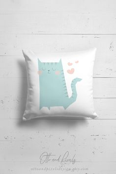 Cat pillow for kids rooms by OttoandPixelsDesign on Etsy