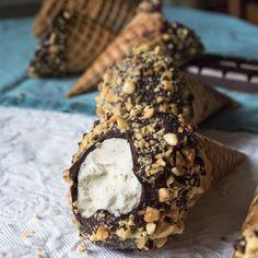 "homemade ""drumsticks"" ice cream sundae waffle cones"
