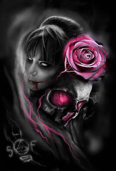 girl and skull by SergoFenix on DeviantArt Skull Rose Tattoos, Body Art Tattoos, Tattoo Crane, Lettrage Chicano, Arte Dope, Sugar Skull Girl, Sugar Skulls, Totenkopf Tattoos, Beautiful Dark Art