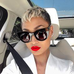 Short Pixie Haircut Trends 2018 for Fashionable Style Queens Short Sassy Hair, Short Pixie, Short Hair Cuts, Short Hair Styles, Natural Hair Styles, Pixie Cut Styles, Asymmetrical Pixie, Curly Pixie, Black Pixie Cut