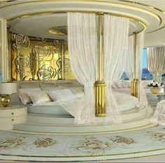 30 Round Beds That Will Spice Up Your Bedroom : On the face of it, a circle bed seems like an exciting and interesting way to freshen up the look of your bedroom. Luxury Bedroom Design, Master Bedroom Design, Luxury Decor, Modern Bedroom, Bedroom Decor, Interior Design, Bedroom Ideas, Bedroom Furniture, Bedroom Inspiration