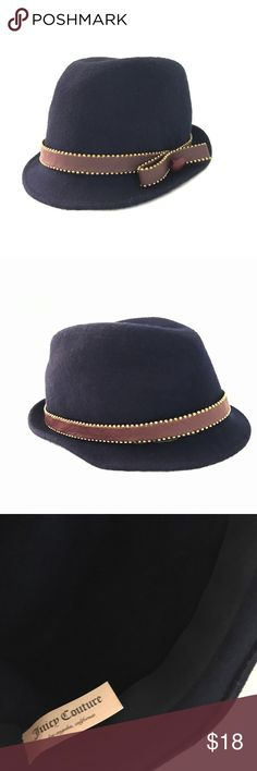 Juicy Couture Fedora Dark navy with brown accent. Note: the glue between the leather and the hat came off but can't really tell unless you move it around. Juicy Couture Accessories Hats