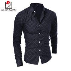 John'S Bakery Brand Men Shirt Plaid Dress Shirt Long Sleeve Slim Fit Camisa Masculina Casual Male Shirts Model White M,L,XL,XXL1 #Affiliate