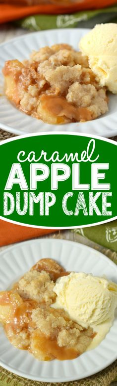 This Caramel Apple Dump Cake is ridiculously easy to make, but so delicious that it will become your new favorite fall dessert! Caramel Apple Dump Cake, Apple Dump Cakes, Dump Cake Recipes, Caramel Apples, Apple Cake, Fast Dessert Recipes, Frosting Recipes, Mini Desserts, Fall Desserts