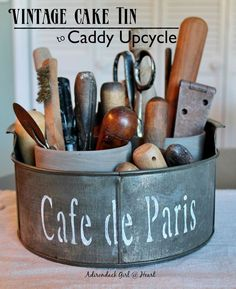Upcycled vintage cake tin tool caddy