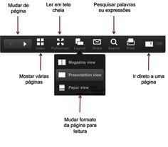 P/ ler o livro, clique no botão 'Expand', acima do livro. Isso fará com q o livro apareça em tela cheia o q facilitará sua leitura. E vc poderá clicar nos botões à esquerda e à direita p/ mudar d página. Se preferir ler o livro em um tablete (iPad etc), clique na opção 'layout' e escolha da 3ª opção ('paper view') Clicando c/o mouse sobre o livro, a tela fará um zoom p/ facilitar a sua leitura.  P/pesquisar uma palavra específica, clique no botão 'Search'. Com ela vc podera pesquisar…