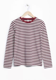 & Other Stories image 1 of Striped Sweater in Burgundy