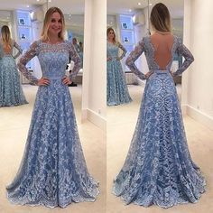 2017 Custom Made Blue Lace Prom Dress,Sexy Open Back Evening Dress,Long Sleeves Party Gown,See Through Prom Dress,High Quality