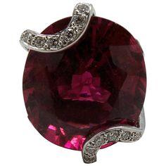 Rubelite Tourmaline Diamond White Gold Ring Set | 1stdibs.com